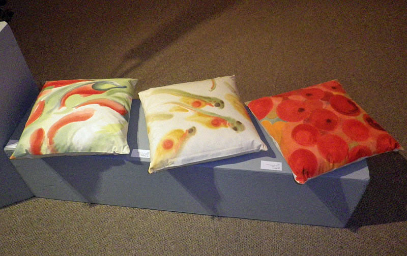© Bev Mazurick a trilogy of cushions featuring life cycle of salmon