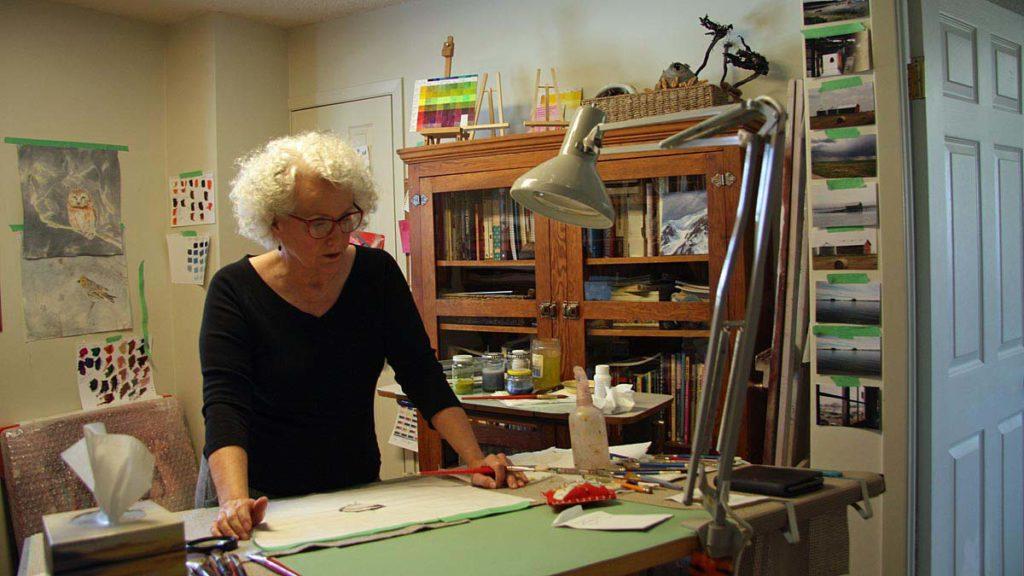 Photo of artist Bev Mazurick in studio