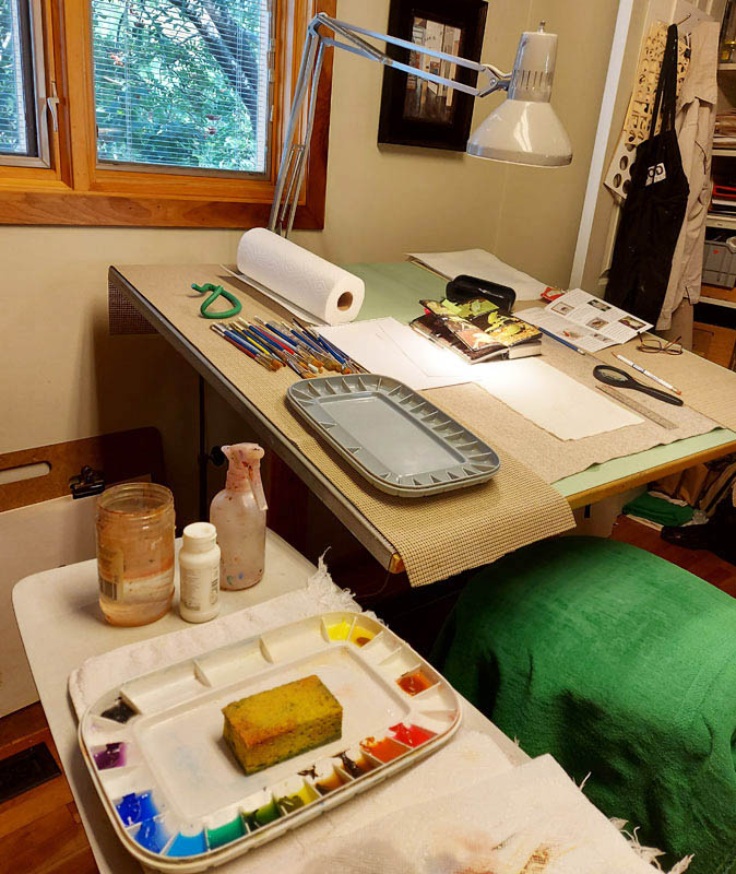 Bev Mazurick studio set up for fabric painting